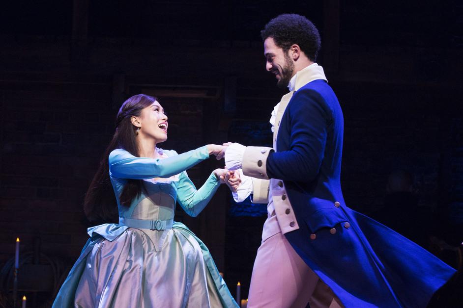Hamilton - L to R: Rachelle Ann Go (Eliza Hamilton) and Jamael Westman (Alexander Hamilton). Photo: Matthew Murphy