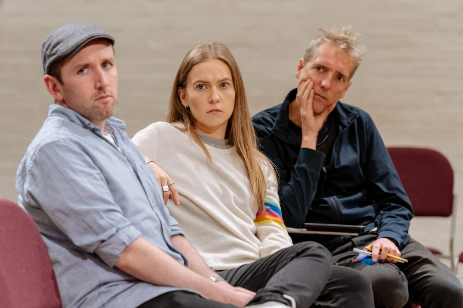 The Tell-Tale Heart - David Carlyle, Imogen Doel, Nick Powell in rehearsals for The Tell-Tale Heart, photo: Manuel Harlan