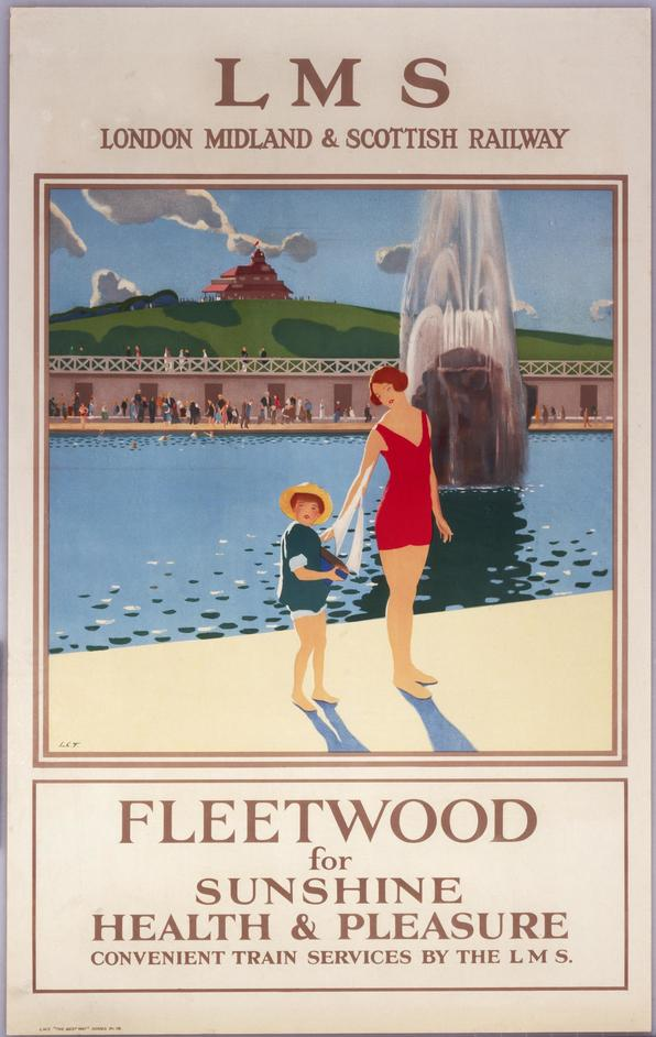 The Sun: Living With Our Star - Railway poster 'Fleetwood for sunshine, health and pleasure', circa 1935, c.Science Museum Group Collection