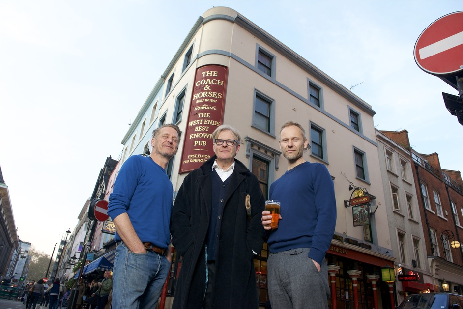 Norman's Coach & Horses - Alastair Choat, who has run the pub for over a decade, with Robert Bathurst and James Hillier outside Norman's Coach & Horses in Soho, photo: Tom Howard