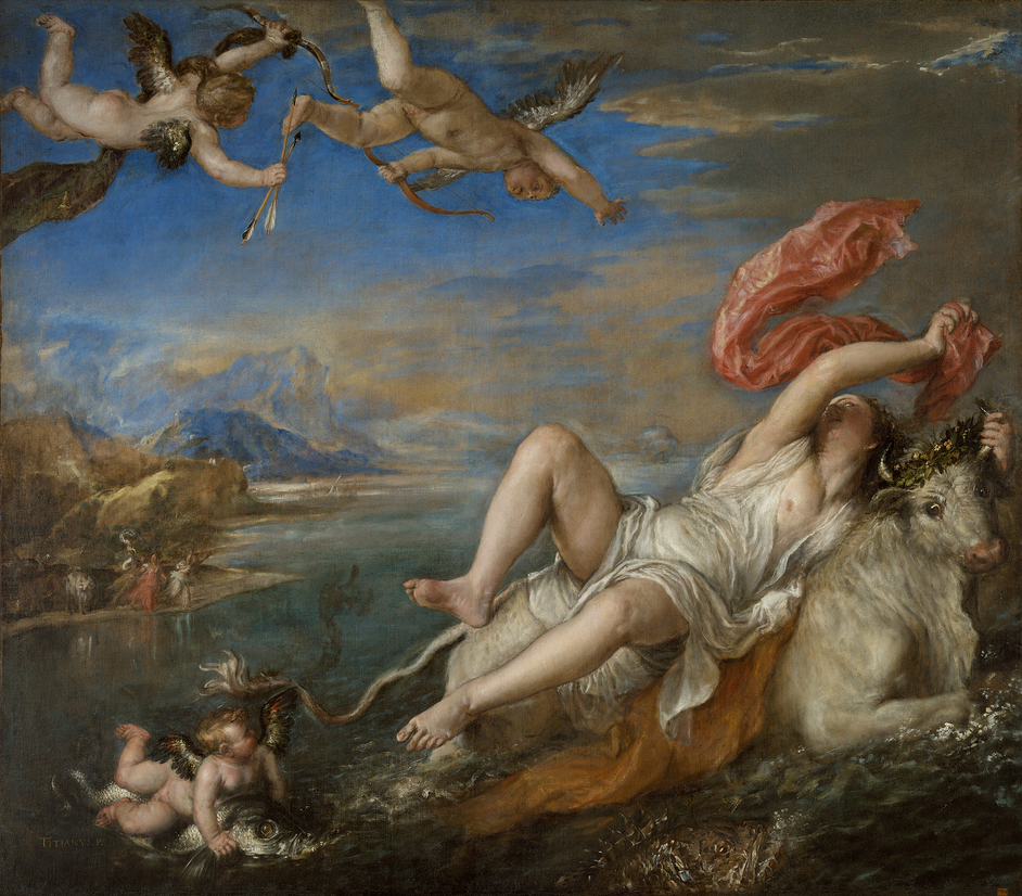 Titian: Love, Desire, Death - Titian, Rape of Europa, 1560?2 Oil on canvas, 178 × 205 cm © Isabella Stewart Gardner Museum, Boston