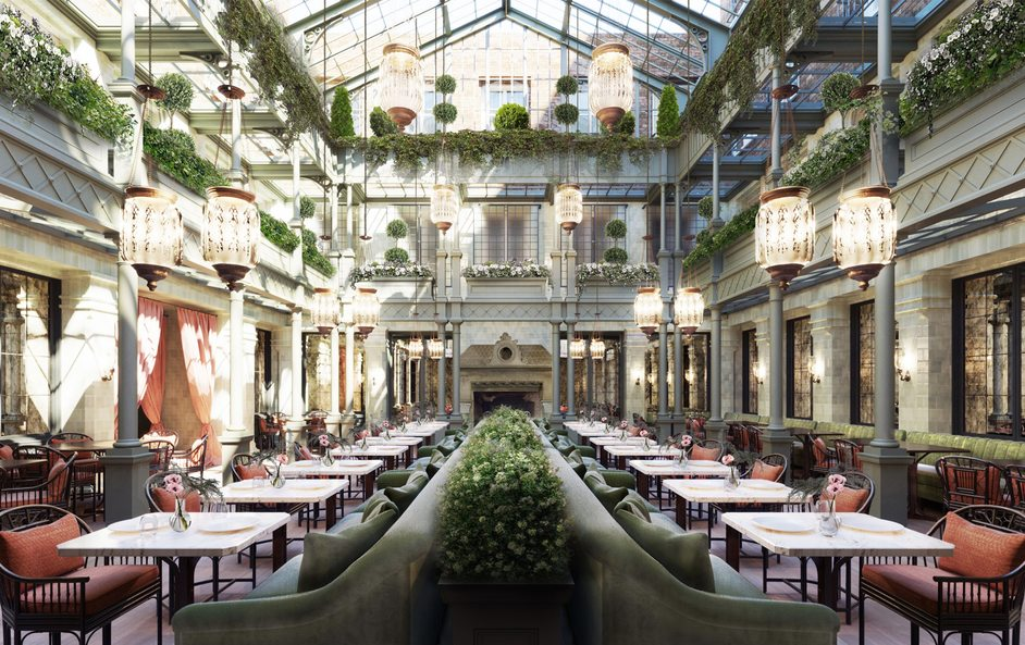The NoMad Hotel London - NoMad London, atrium rendering, image: Roman and Williams