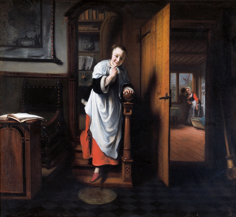 Nicolaes Maes: Dutch Master of the Golden Age - Nicolaes Maes, The Eavesdropper, about 1656 Oil on canvas, 57.5 × 66 cm The Wellington Collection, Apsley House [English Heritage] © Historic England Photo Library