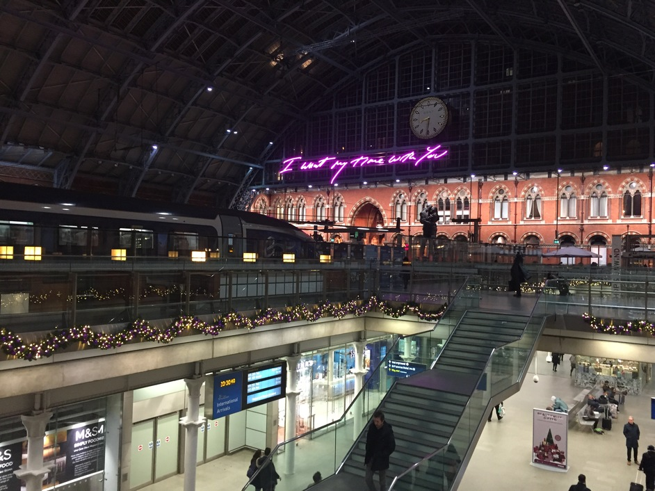 "St Pancras International Station - St Pancras International Station, ""I want my time with you"", Tracey Emin"