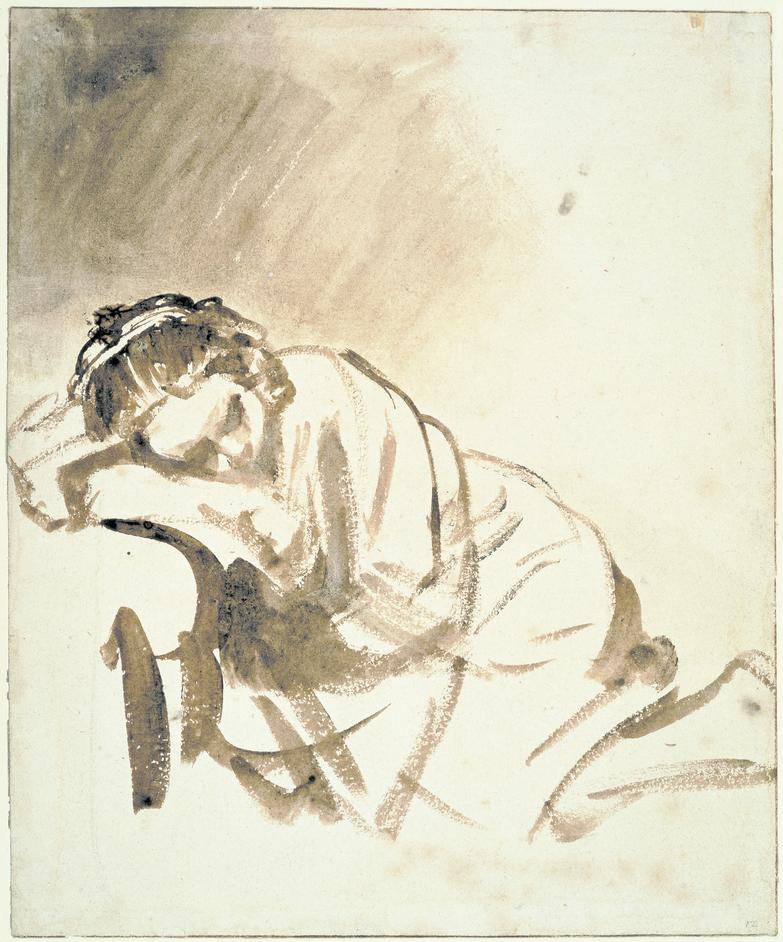 Rembrandt: Thinking On Paper - Rembrandt van Rijn, 1606 ? 1669.Young woman sleeping (Hendrickje Stoffels?), brush and brown wash, around 1654. © the Trustees of the British Museum