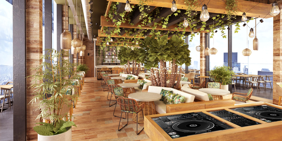 Treehouse London - Treehouse Hotel London, rendering of the 16th floor rooftop bar