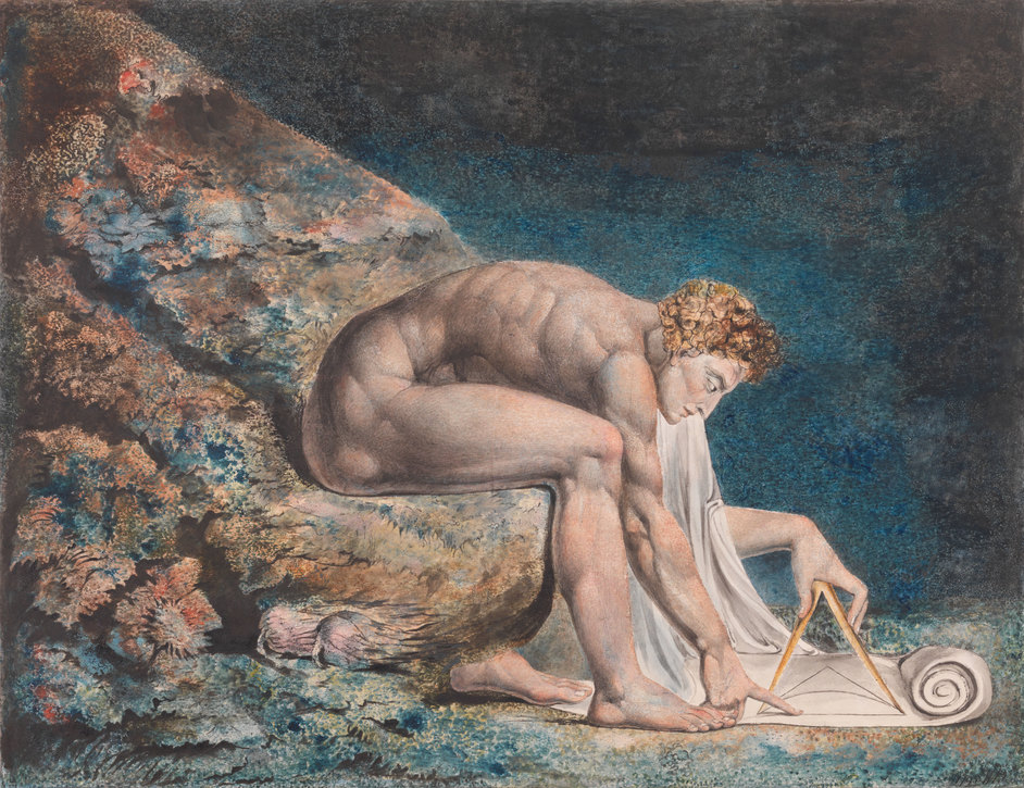 William Blake - William Blake (1757-1827) Newton 1795- c. 1805 Colour print, ink and watercolour on paper 460 x 600 mm Tate