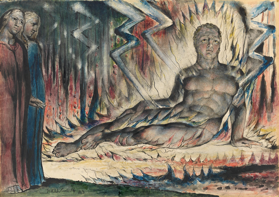 William Blake - William Blake (1757-1827) Capaneus the Blasphemer 1824-1827 Pen and ink and watercolour over pencil and black chalk, with sponging and scratching out 374 x 527 mm National Gallery of Victoria, Melbourne