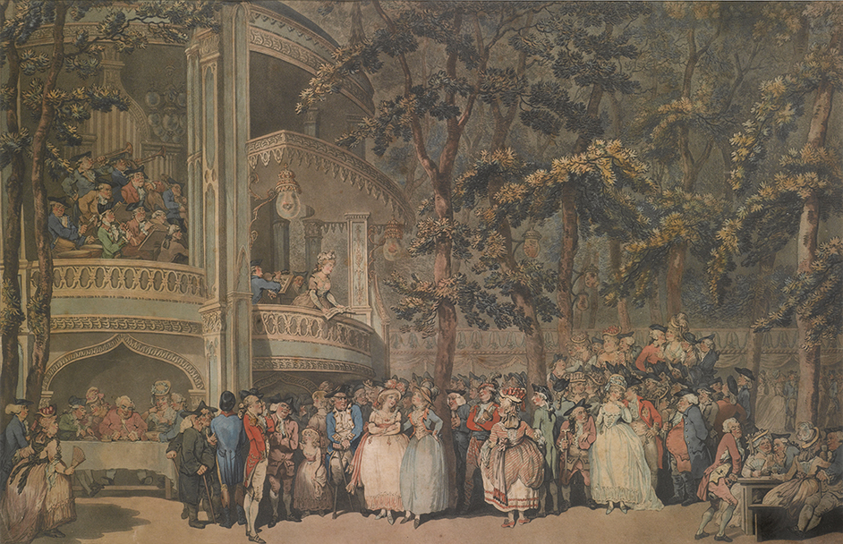 Two Last Nights! Show Business in Georgian Britain - Thomas Rowlandson, Vauxhall Gardens, 1785 © Gerald Coke Handel Foundation