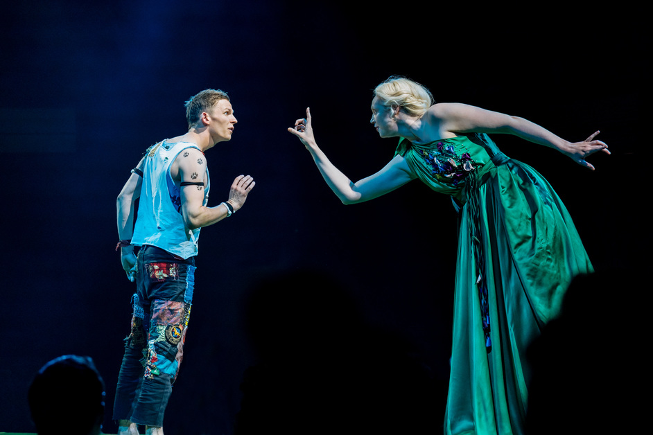A Midsummer Night's Dream - L-R David Moorst (Puck) and Gwendoline Christie (Titania), photo by Manuel Harlan