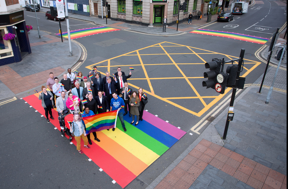 Junction of Thomas Street and Wellington Street - Three crossings at the junction of Thomas Street and Wellington Street painted to celebrate Pride 2019