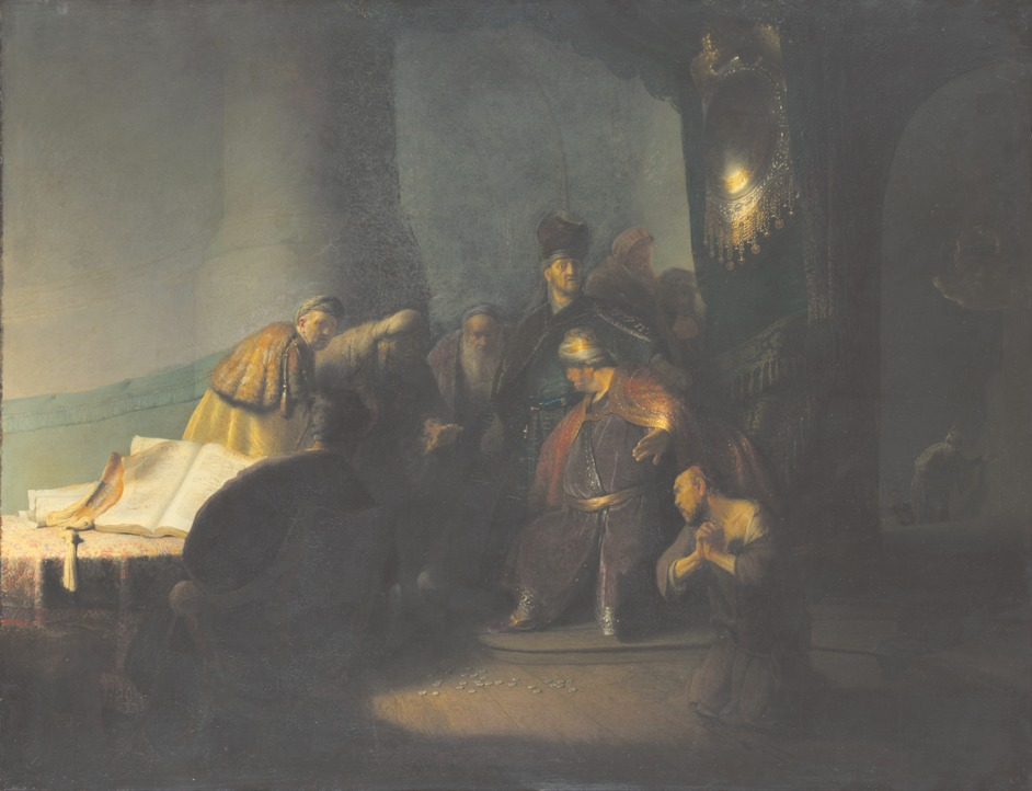 Jews, Money, Myth - Rembrandt van Rijn (1606-1669), Judas Returning the Thirty Pieces of Silver,1629. Oil on panel. © Private Collection, Photography courtesy of The National Gallery, London, 2016
