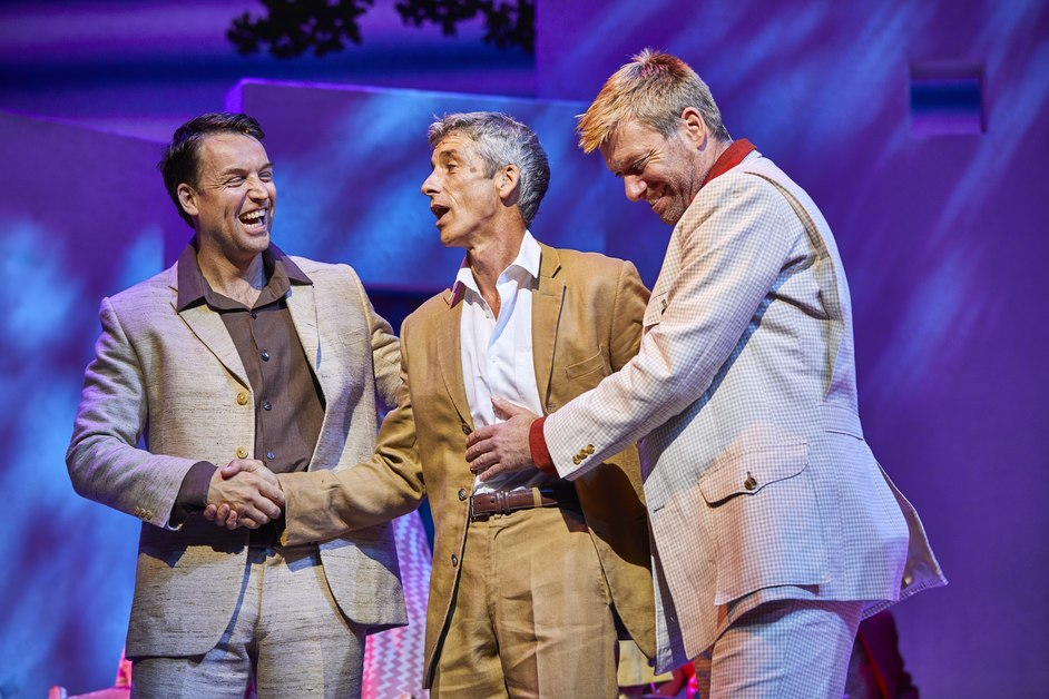Mamma Mia! - Neil Moors as Harry, Richard Trinder as Sam & Stephen Beckett as Bill in Mamma Mia! Photo: Brinkhoff & Mogenburg