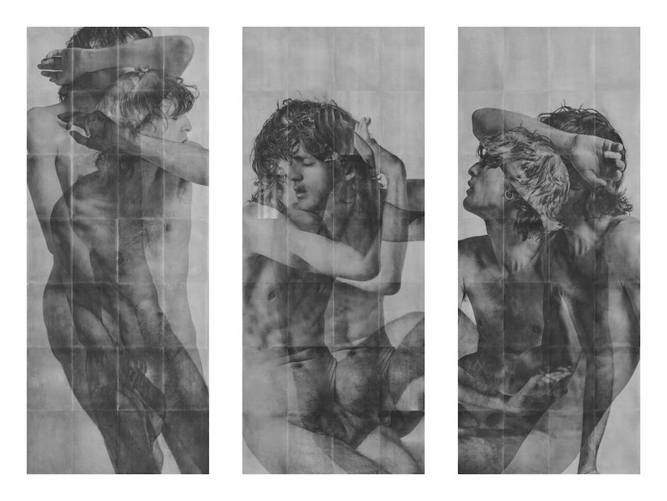 Photo London - Rad Husak Mirrored Decline [Triptych] 2018 Unique pigment transfer and carbon pencil on sandblasted aluminium