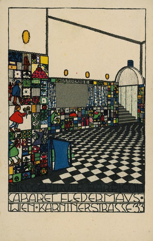 Into the Night: Cabarets and Clubs in Modern Art - Josef Hoffmann, Kabarett Fledermaus Postkarte, Wiener Werkstatte, Nr. 74., 1907, Theatermuseum, Vienna