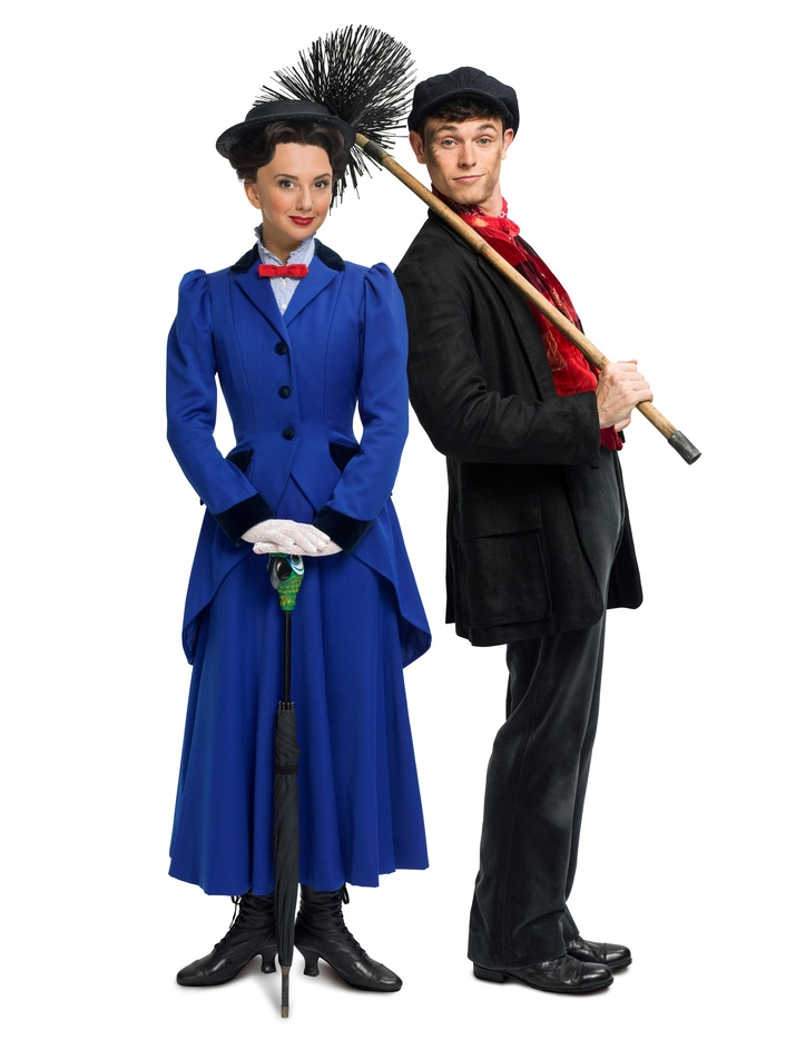 Mary Poppins - Zizi Strallen as Mary Poppins and Charlie Stemp as Bert, photo: Seamus Ryan