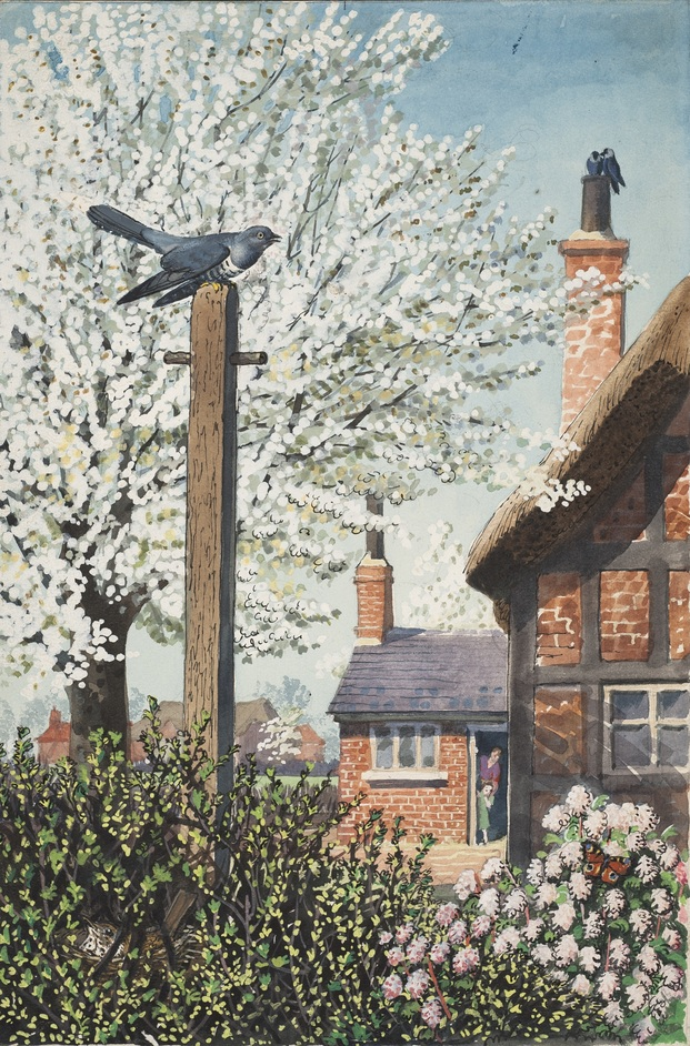 What to Look for in the Garden: A Ladybird Books Exhibition - A cuckoo perched on top of a washing pole, from What to Look for in Spring © Ladybird Books Ltd, 1961