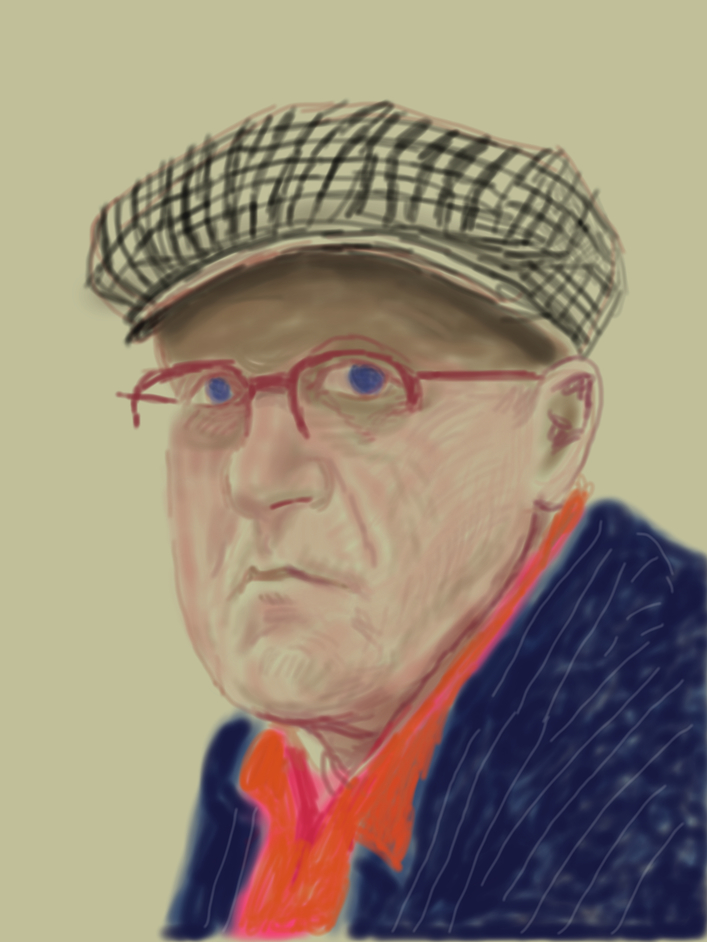 "David Hockney: Drawing from Life - David Hockney Self Portrait, March 14 2012, iPad drawing printed on paper Exhibition Proof 37 x 28"" © David Hockney"