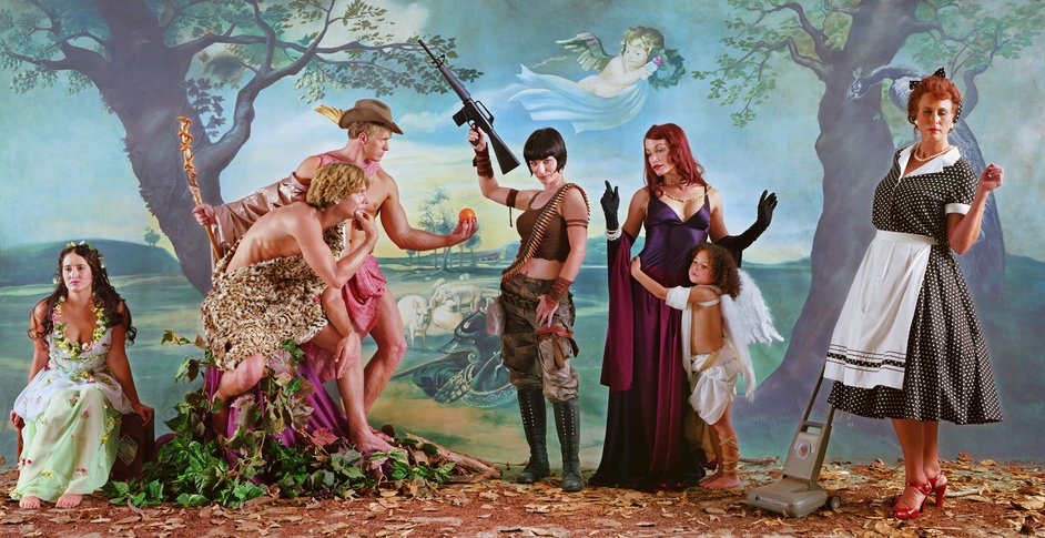 "Troy: Myth and Reality - Eleanor Antin Judgement of Paris (after Rubens), 2007, from ""Helen's Odyssey"" © Eleanor Antin. Courtesy the artist and Ronald Feldman Gallery, New York"