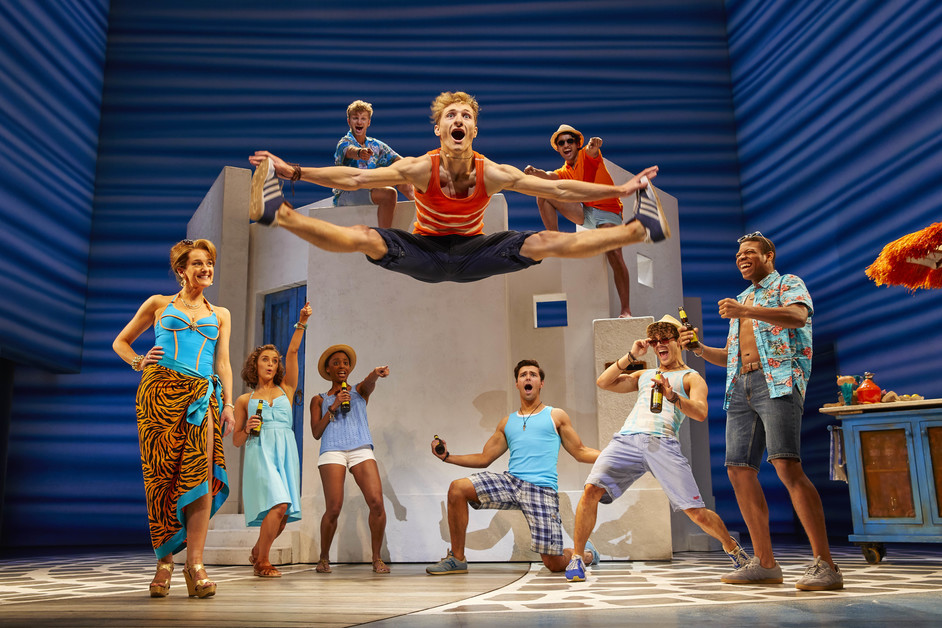 Mamma Mia! - Danny Nattrass as Pepper (front centre) with the cast of MAMMA MIA! Photo: Brinkhoff & Mogenburg