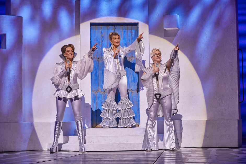 Mamma Mia! - L to R: Kirsty Hoiles as Tanya, Mazz Murray as Donna and Ricky Butt as Rosie in MAMMA MIA! Photo: Brinkhoff & Mogenburg