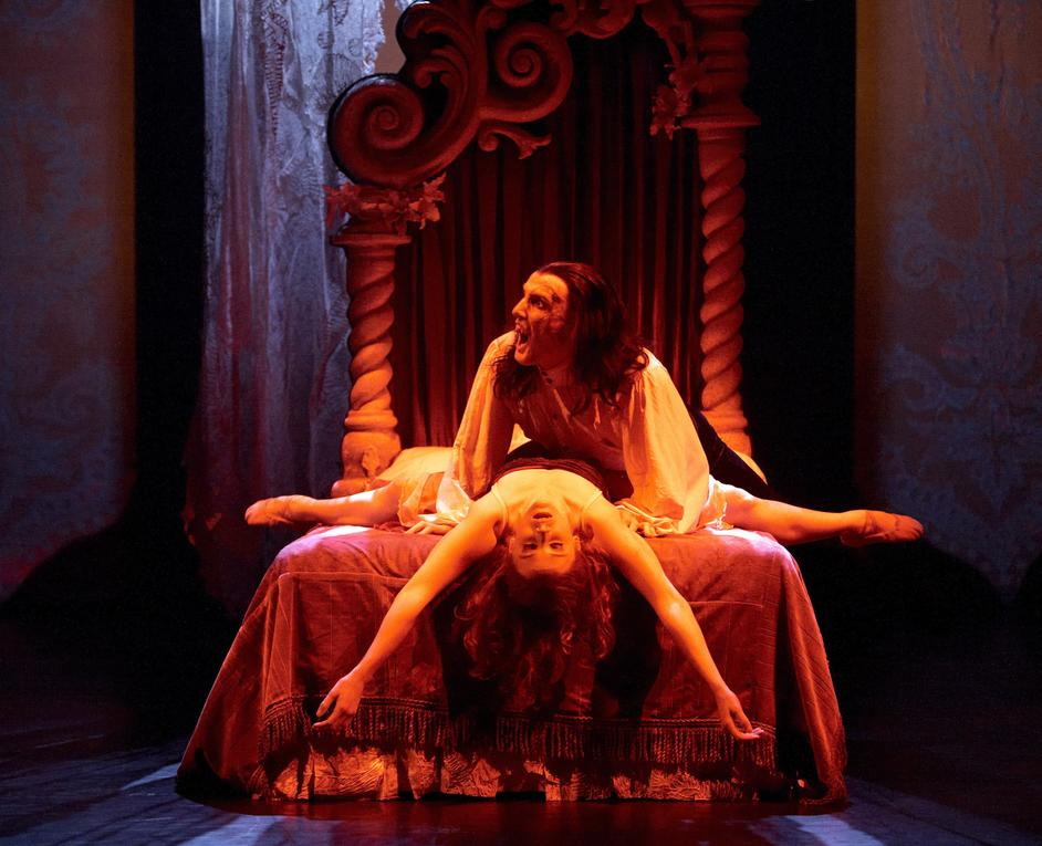 Northern Ballet: Dracula - Christopher Hinton-Lewis as Dracula and Georgina May as Lucy. Photo: Merlin Hendy