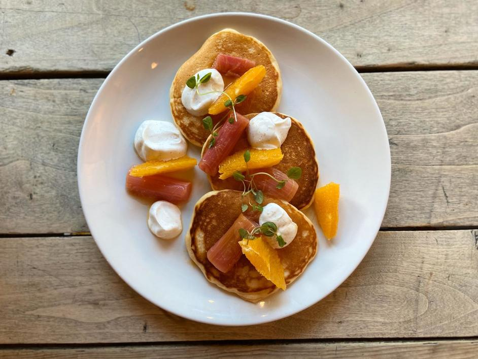 Pancake Day at Ask for Janice - Buttermilk pancakes with rhubarb, orange and vanilla yoghurt