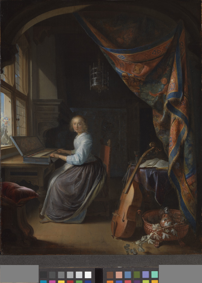 Woman in the Window - Gerrit Dou, A Woman playing a Clavichord, c. 1665. By Permission of Dulwich Picture Galler