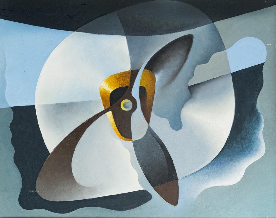 Tullio Crali: A Futurist Life - Tullio Crali Broken Engine, 1931 (Motore in panne) Tempera on cardboard 45 x 57 cm © Estorick