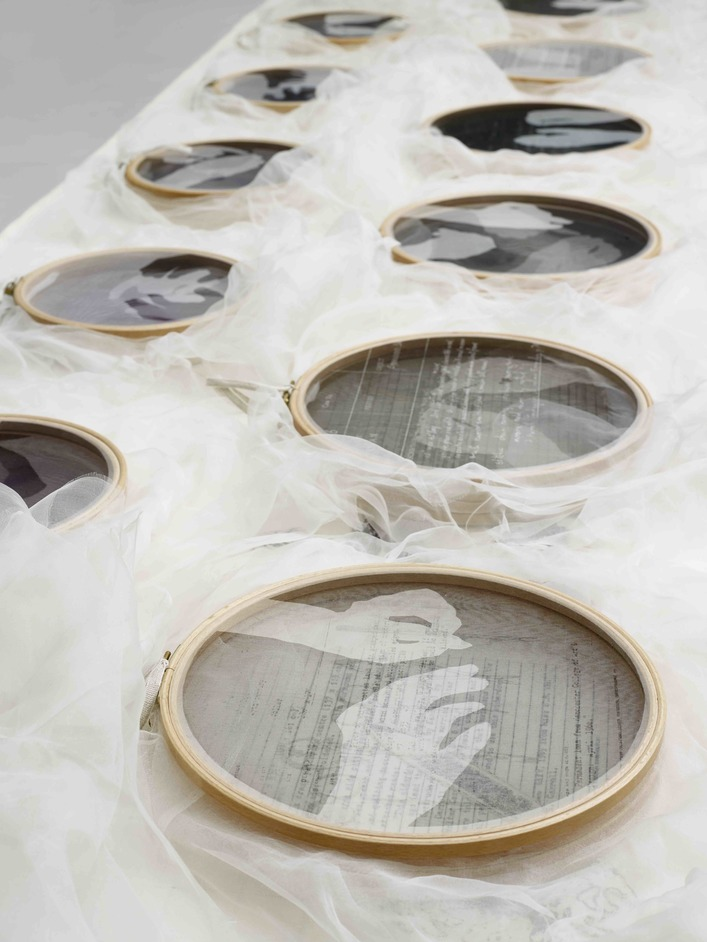 Unbound: Visionary Women Collecting Textiles - Caroline Bartlett, Conversation Pieces 2003, Embroidery hoops with printed and stitched fabric. © The Artist. Courtesy of the Whitworth, The University of Manchester