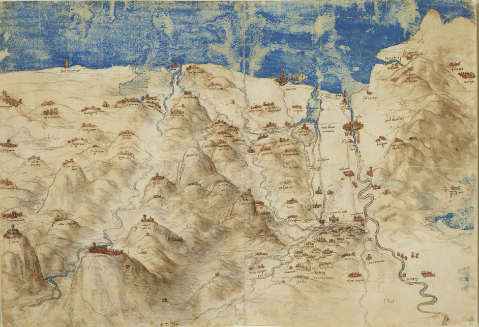 Renaissance Watercolours: from Durer to Van Dyck - Leonardo da Vinci, A bird's-eye view of western Tuscany, c.1503-4.Royal Collection Trust © Her Majesty Queen Elizabeth II 2020