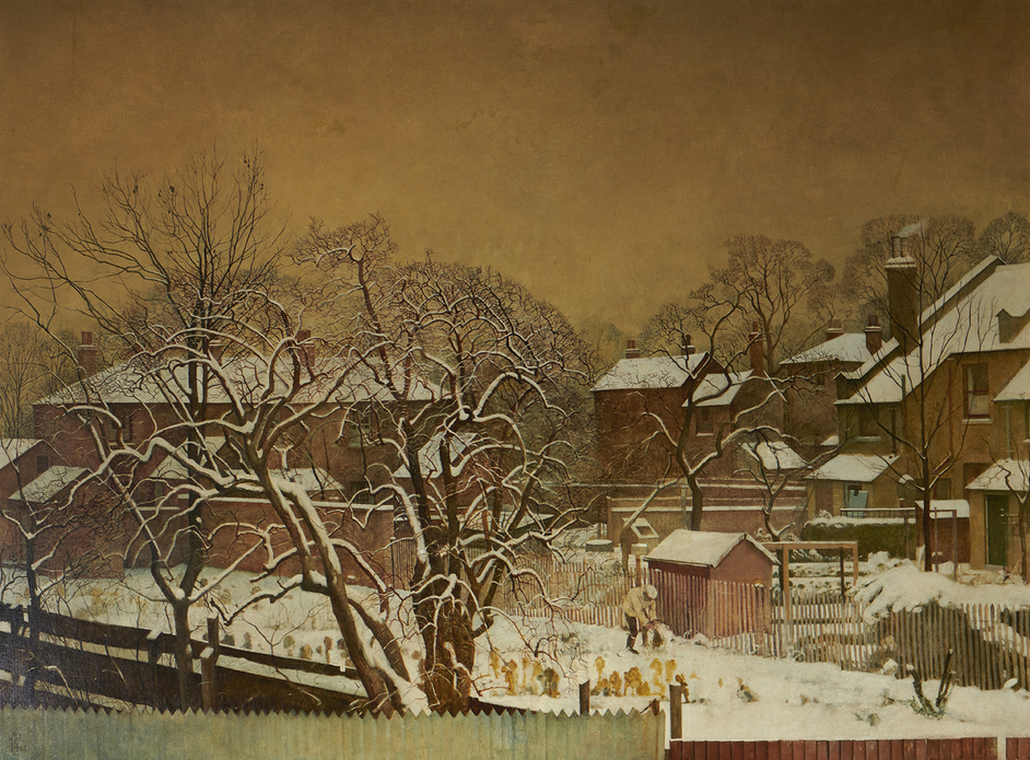 Sanctuary: Artist-Gardeners 1919-1939 - Harry Bush (1883-1957), Snowfall in the Suburbs - A View from the Artist's House, 1940. Image courtesy of Liss Llewellyn
