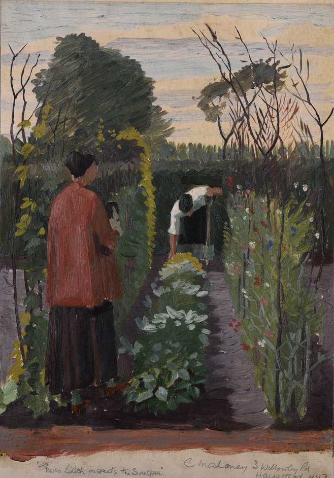 Sanctuary: Artist-Gardeners 1919-1939 - Charles Mahoney (1903-1968), Miss Edith inspects the Sweetpea, c.1934, Image courtesy of Liss Llewellyn