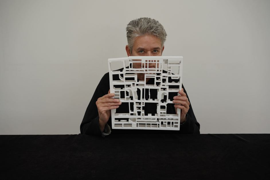 Langlands & Bell: Degrees of Truth - Portrait of Nikki Bell with a model of Sir John Soane's Museum, basement, 2020. Image courtesy of the artists