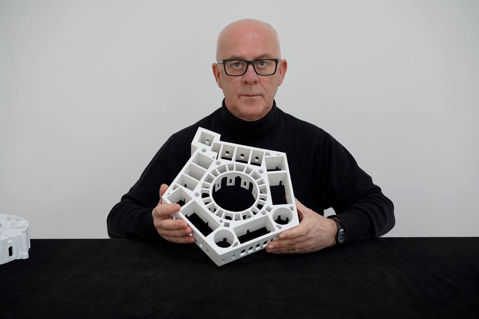 Langlands & Bell: Degrees of Truth - Portrait of Ben Langlands with a model of Villa Farnese, Caprarola, 2020. Image courtesy of the artists