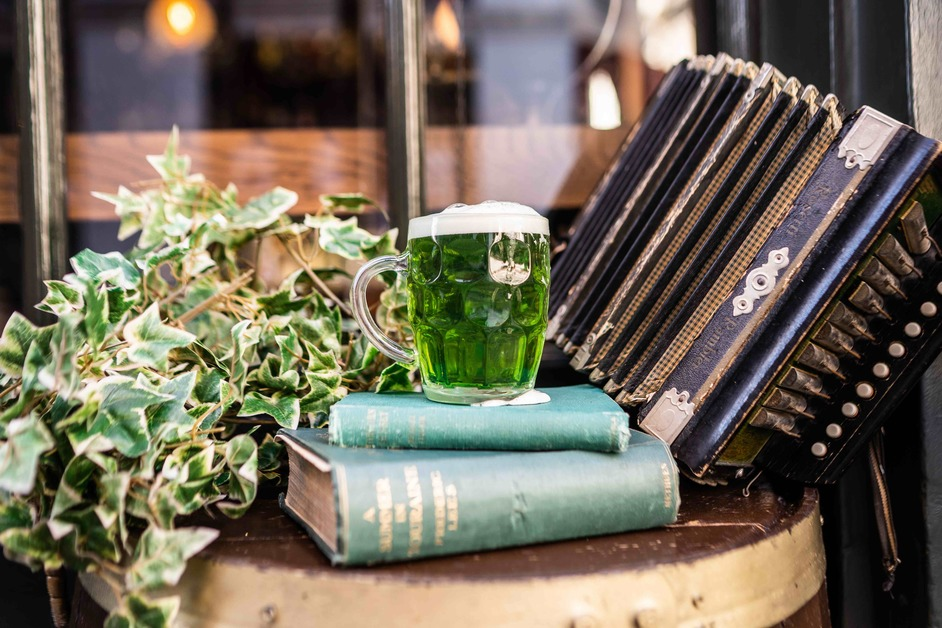 Mrs Fogg's Dockside Drinkery and Distillery - Mr Fogg's green Paddy's lager, St Patrick's Day